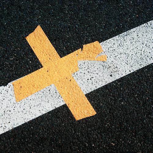 road cruiser Traffic infrastructure Street Lane markings Asphalt Line Crucifix Plastic Sharp-edged Simple Under Town Yellow Gray Black White Rough Gritty Broken