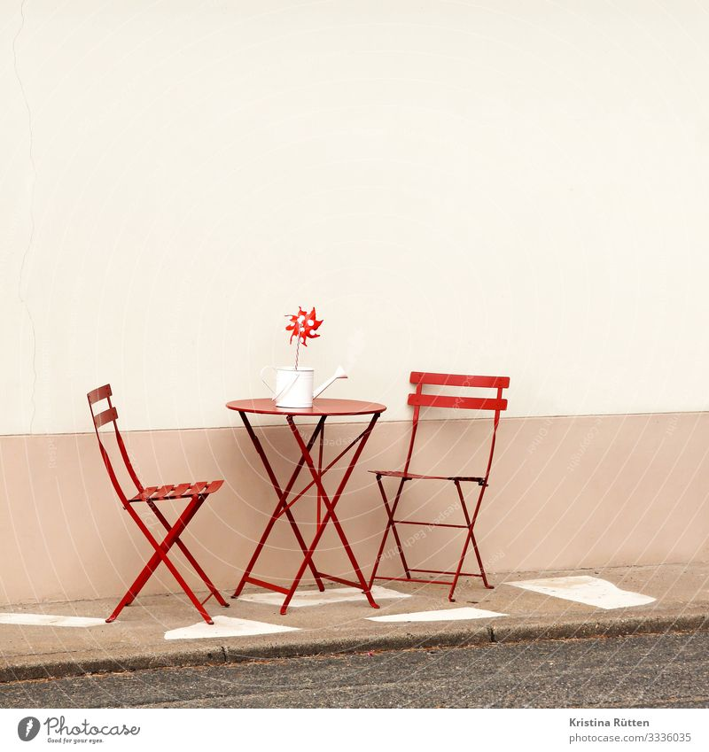 terressen Chair Table Gastronomy Wall (barrier) Wall (building) Terrace Relaxation Sit Together Red Romance Hospitality Garden table Seating Sidewalk café
