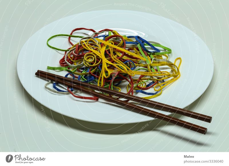 Elastic bands spaghetti Collection Accumulation Yellow Plastic Colour Red Multiple Multicoloured Dough Abstract Rubber String Plate Spaghetti Healthy Eating