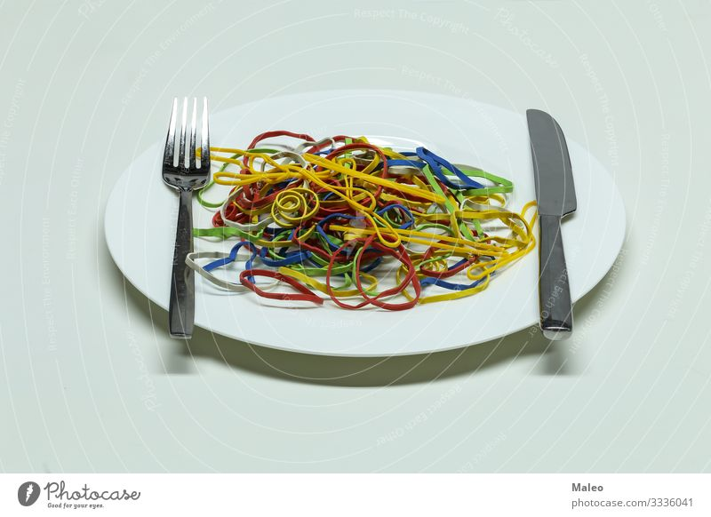 Elastic bands spaghetti Accumulation Yellow Plastic Colour Red Multiple Multicoloured Dough Abstract Rubber String Plate Spaghetti Healthy Eating Dish Cooking