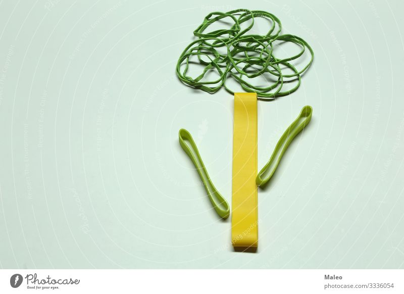 Green tree made of coloured rubber bands Elastic Multicoloured Elastic band Rubber String Office Colour Things Background picture Structures and shapes Yellow