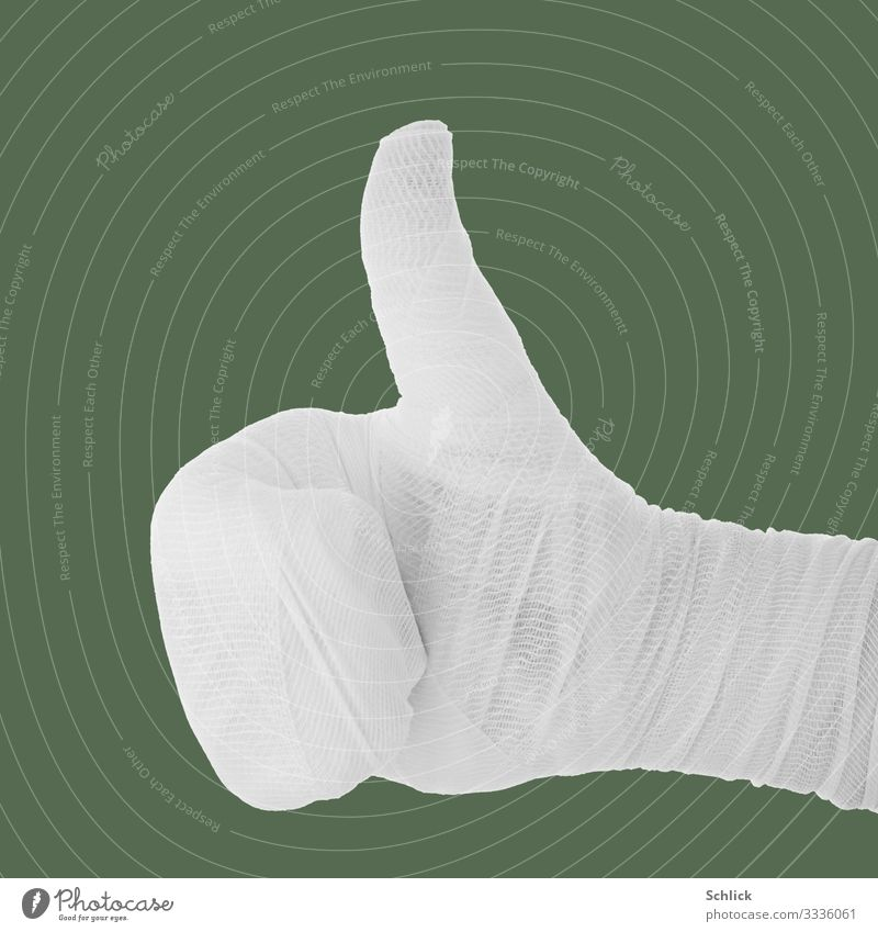 Thumbs up Illness Hand Sign Green White Sarcasm sarcastically Mockery Tall Show of hands Bandage violation symbol stock photography interconnected