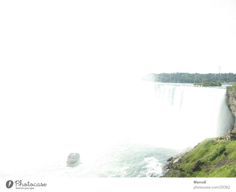 Water Tourism USA Americas Canada Waterfall Famousness Tourist Attraction White crest Attraction Natural phenomenon Force of nature Destination Niagara Falls (USA) Excursion boat