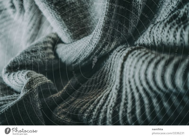 Detail of woolen warm clothes texture textile soft winter surface contrast wave gray grey monochrome clothing fashion wallpaper abstract organic natural fiber