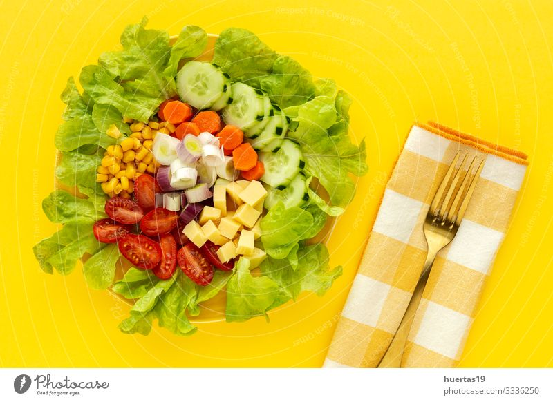 lettuce salad with tomato, cheese and vegetables Food Cheese Vegetable Nutrition Vegetarian diet Diet Bowl Healthy Eating Fresh Salad Tomato corn cucumber