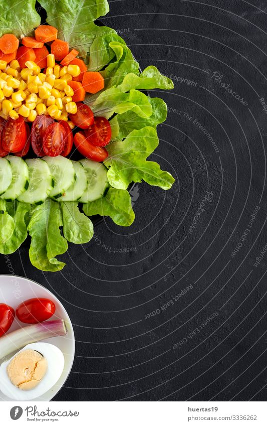 lettuce salad with tomato, cheese and vegetables Food Cheese Vegetable Lettuce Salad Nutrition Vegetarian diet Diet Bowl Healthy Eating Fresh Green Red Black