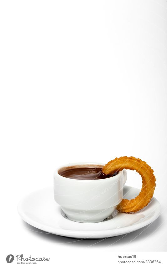 Cup of chocolate sauce with churros Food Dessert Breakfast Beverage Hot Chocolate Culture Brown White Tradition spanish Churros background cup Baked goods