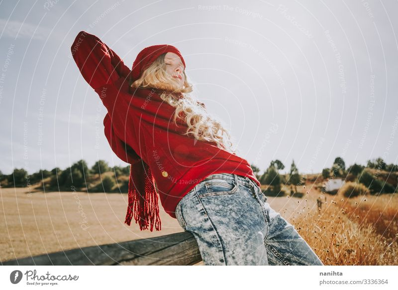 Happy young woman enjoying a sunny day Joy Life Freedom Summer Human being Feminine Young woman Youth (Young adults) Woman Adults Arm 1 18 - 30 years Nature