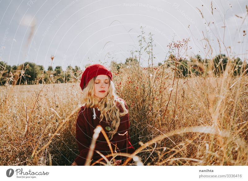 Young woman in a field in a sunny day Senses Calm Summer Human being Feminine Woman Adults Youth (Young adults) 1 18 - 30 years Nature Landscape Autumn