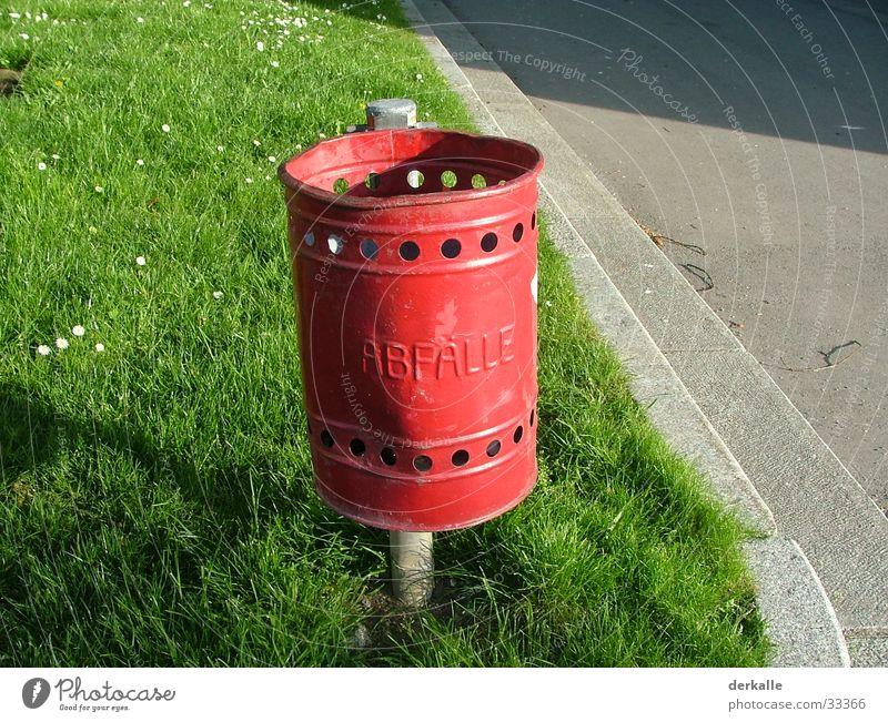 Red Street Empty Lawn End Trash Living or residing Trashy Bucket
