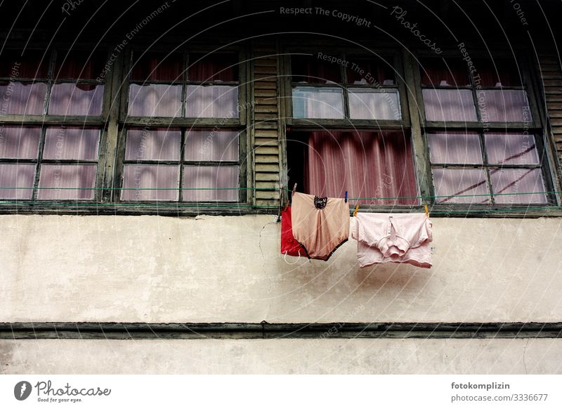 linen windows Facade Window Clothing T-shirt Underwear Hang Retro Cleanliness Modest Senior citizen Poverty Loneliness Life Nostalgia Whimsical Tourism Town
