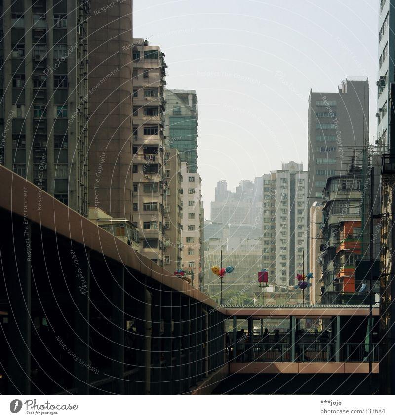 mong kok madness. Hongkong Town Mongkok Kowloon China Asia Concrete Concrete construction Concrete block Gloomy Urban canyon Populated High-rise Narrow Bridge