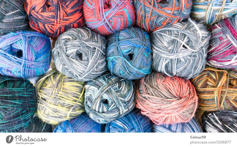 coloured wool Leisure and hobbies Winter Multicoloured Handcrafts Wool yarn stacked variegated mottled Ball of wool Knot Wound up Knit knitting yarn Crochet