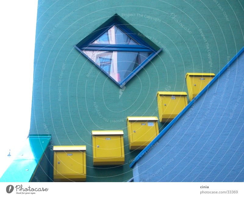 Blue House (Residential Structure) Window Architecture Stairs Mailbox