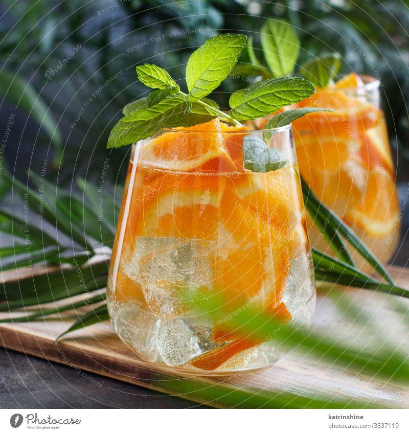 Homemade refreshing mocktail with soda and orange juice Fruit Beverage Lemonade Juice Vacation & Travel Summer Leaf Cool (slang) Fresh Natural Green Red