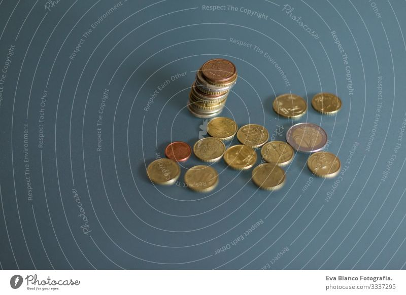 detail of euro coin money. Money concept Make Technology Markets many coin Financial institution savings digitally Abstract profit Reportage Planning investment