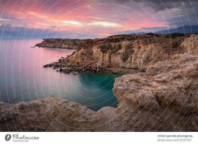 Crete. Ocean Mountain Nature Landscape Coast Moody Europe Mediterranean Greece Greek Lasithi Kalo Nero Cliff Sunset Evening