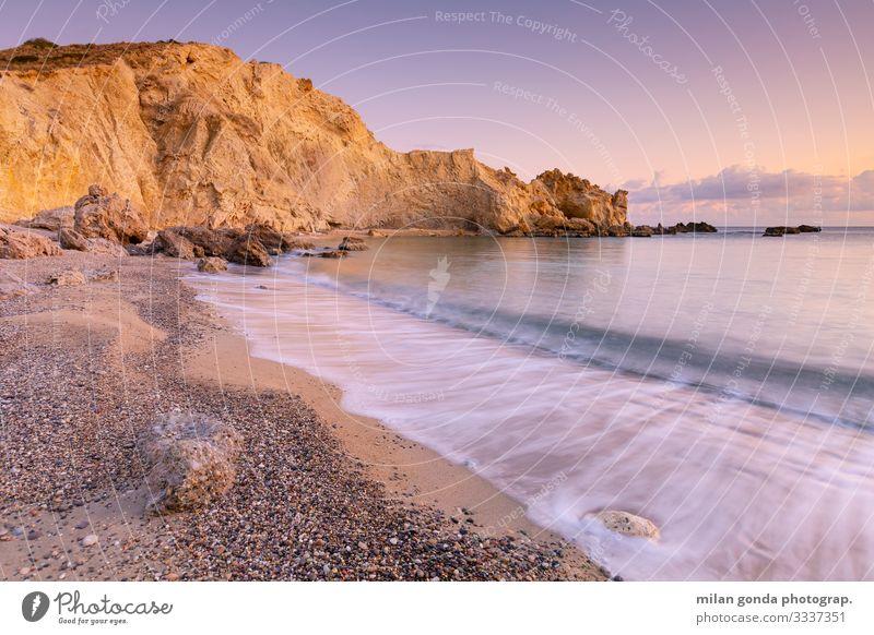 Crete. Beach Ocean Mountain Nature Landscape Rock Coast Moody Serene Europe Mediterranean Greece Greek Lasithi Kalo Nero Cliff Evening