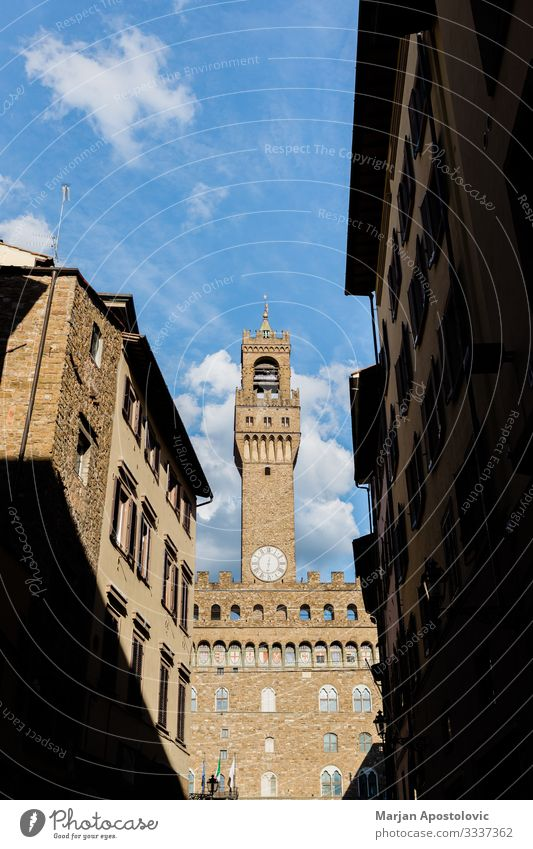 Street view of Palazzo Vecchio in Florence, Italy Vacation & Travel Tourism Sightseeing City trip Architecture Tuscany Europe Town Downtown Tower
