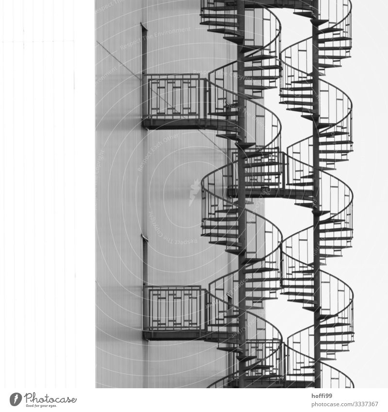 double spiral staircase side by side Industrial plant Warehouse Wall (barrier) Wall (building) Stairs Facade Emergency exit Winding staircase Steel Line Curve