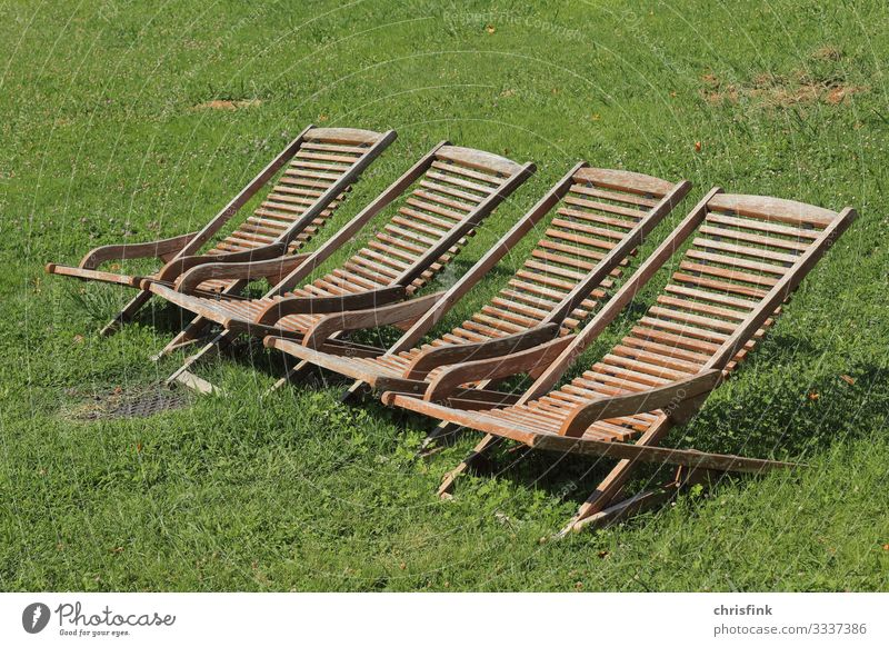Wooden deckchairs on meadow Lifestyle Beautiful Vacation & Travel Trip Sunbathing Human being Environment Nature Climate change Garden Park Meadow To enjoy