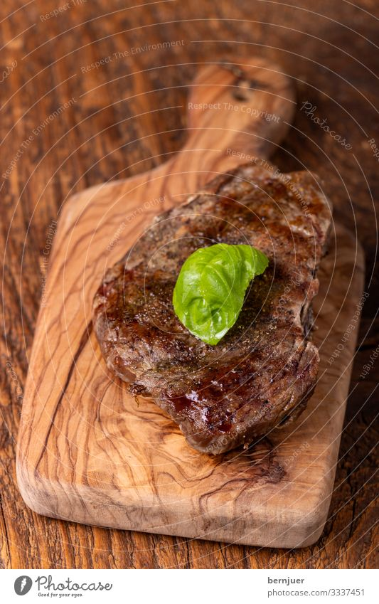 Steak on wood Meat Herbs and spices Table Media Wood Old Dark Above Juicy Black Basil Vintage Pepper Beef Chopping board Gourmet Sirloin grilled meat