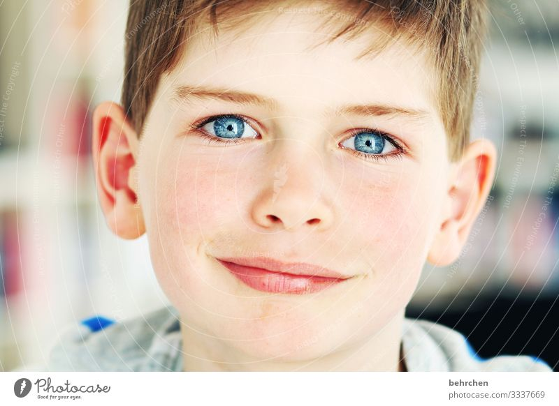 eyes deep and clear. to sink wonderful. touch my heart. cheerful Happy Son Smiling Laughter Love Contrast Family & Relations portrait Sunlight Self-confident