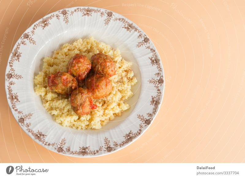Meatballs with typical Moroccan couscous Dinner Plate Tradition Kefta Marrakesh Morocco background Cereals copyspaces cous-cous Cooking cuscus food hanout