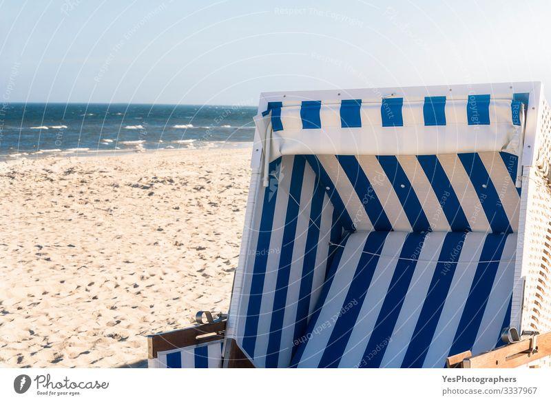 Beach chair on a german beach at the North Sea on Sylt Relaxation Summer Ocean Sand Beautiful weather Coast Optimism Frisian island German beach Germany