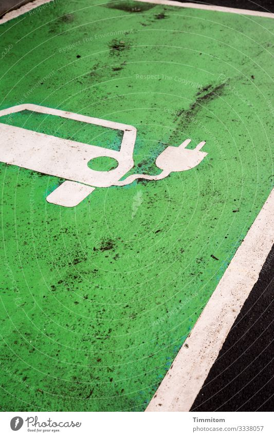 Fill up your e-car Environment Village Transport Car Sign Line Wait Green Black White Emotions Parking lot eMobility Loading dock Dirty Colour photo