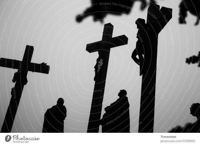 Crucifixion group in winter Good Friday Religion and faith Death Black & white photo Grief Belief Hope Christianity crucifixion Easter Winter Crucifixion Group