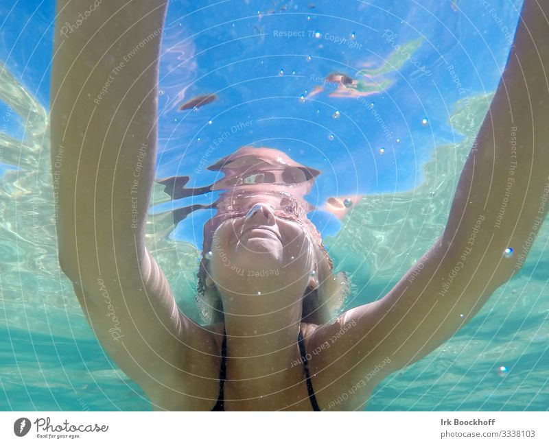 From below Swimming pool Summer vacation Ocean Swimming & Bathing Feminine Young woman Youth (Young adults) Arm 1 Human being 13 - 18 years Cool (slang)