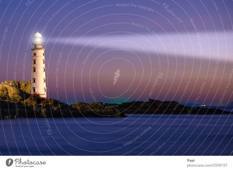 Lighthouse on sea sunset Vacation & Travel Far-off places Freedom Summer Beach Ocean Island Waves House (Residential Structure) Lamp Industry Nature Landscape