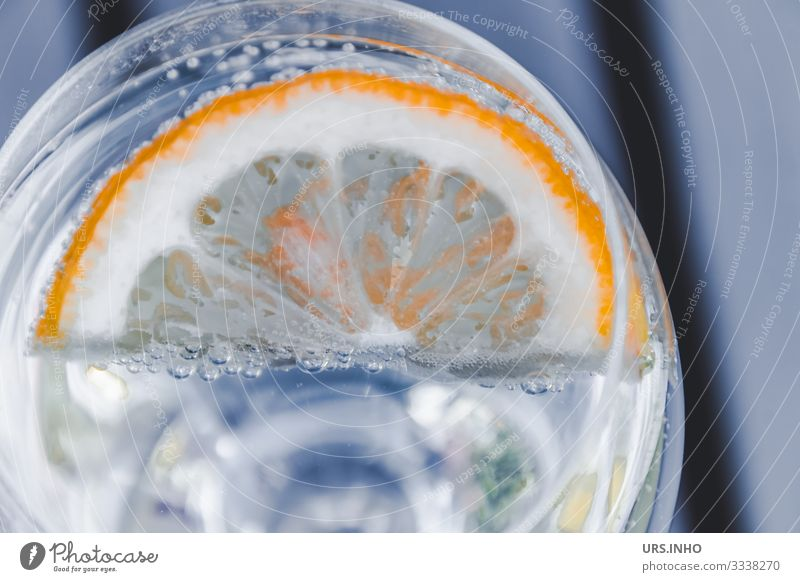 Lemon slice in a water glass Food Fruit Nutrition Beverage Drinking Cold drink Drinking water Lemonade Tumbler Fluid Juicy Yellow Gray White Glass Thirst