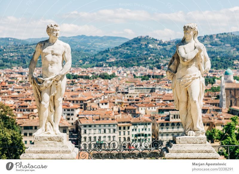 Panoramic view of the city of Florence, Italy Sculpture Architecture Landscape Tuscany Europe Town Skyline Discover Old Esthetic Historic Uniqueness