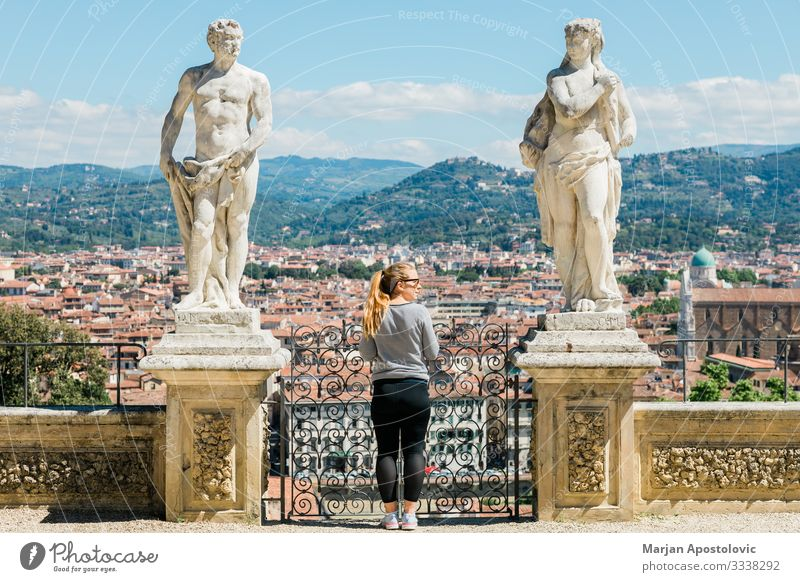 Young woman enjoying panoramic view of Florence, Italy Lifestyle Vacation & Travel Tourism Trip Sightseeing City trip Human being Feminine Youth (Young adults)