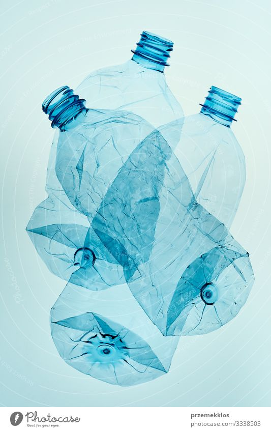 Empty plastic squashed bottles collected to recycling Bottle Save Environment Container Plastic Blue Environmental pollution Environmental protection Trash