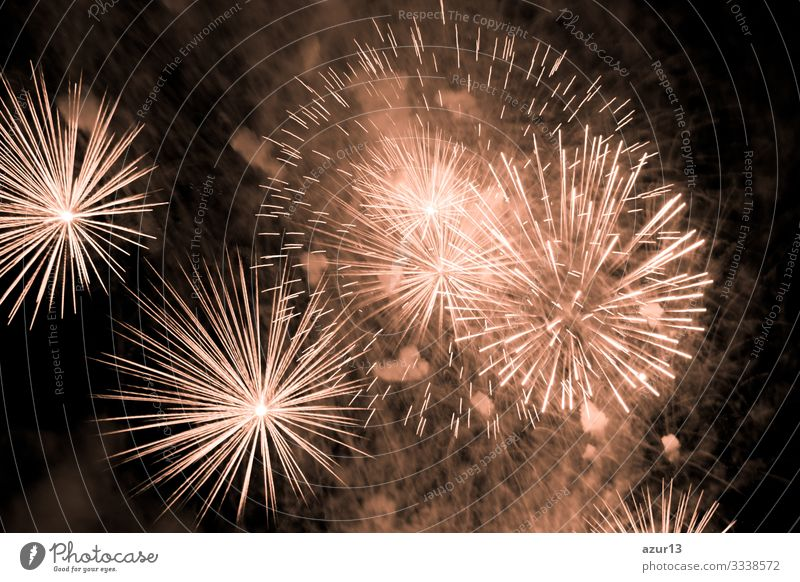 Luxury fireworks event sky show with golden big bang stars luxury entertainment party festival nightlife pyrotechnics magic celebration celebrate new year