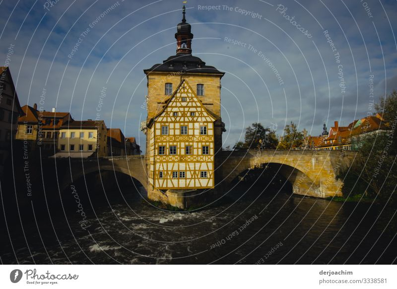 Old city hall Style Relaxation Trip Summer Dream house Environment Beautiful weather Downtown Bamberg Bavaria Germany Old town Deserted City hall Brick Observe