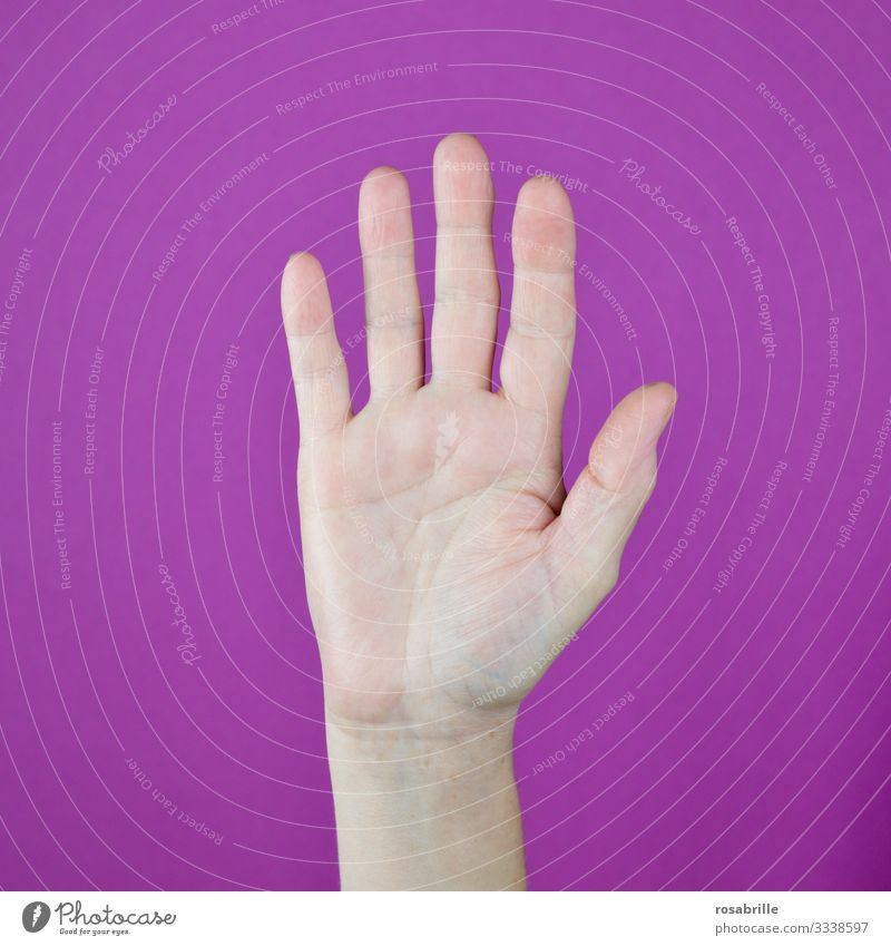 Stop, keep your distance, we want to stay healthy | Health Show of hands stop by hand five pink gesture gap keep sb./sth. apart remain keep off brake Pipe up