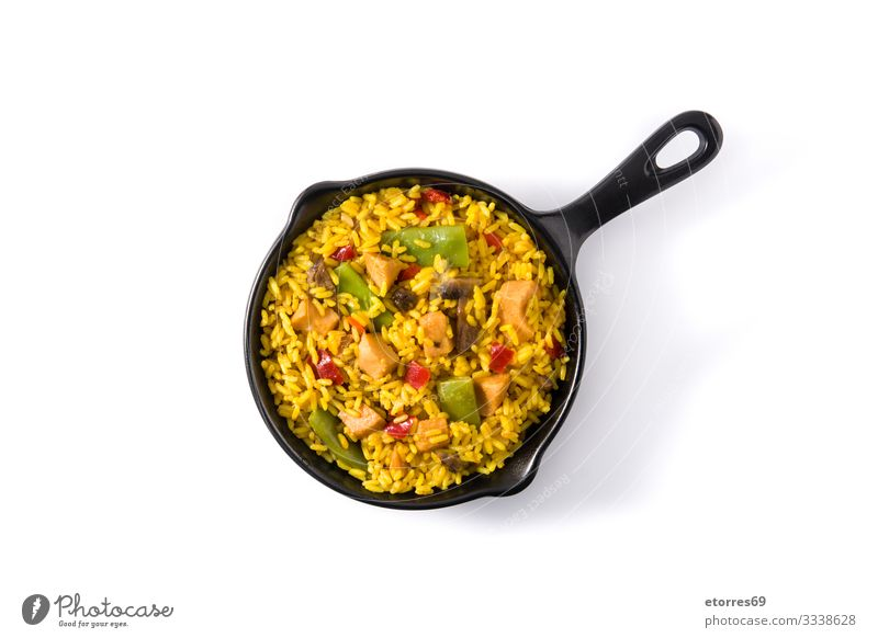 Fried rice with chicken and vegetables asian Chicken Chinese Cooking Delicious Dish Food Healthy Eating Food photograph Frying Grain Green Isolated (Position)