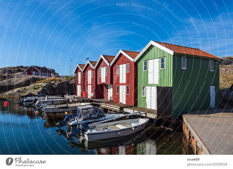 View of the village Smögen in Sweden Vacation & Travel Tourism Summer Ocean House (Residential Structure) Nature Landscape Water Rock Coast North Sea Village
