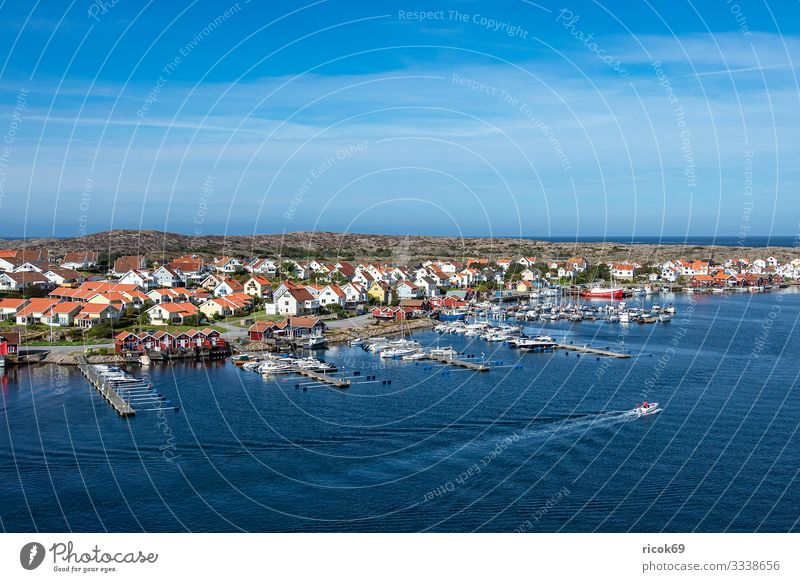 View of the village Smögen in Sweden Relaxation Vacation & Travel Tourism Summer Ocean House (Residential Structure) Nature Landscape Water Clouds Coast