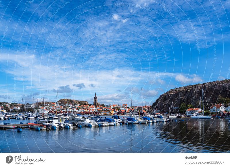 View of the town Fjällbacka in Sweden Vacation & Travel Tourism Summer Ocean House (Residential Structure) Nature Landscape Water Clouds Coast North Sea Town