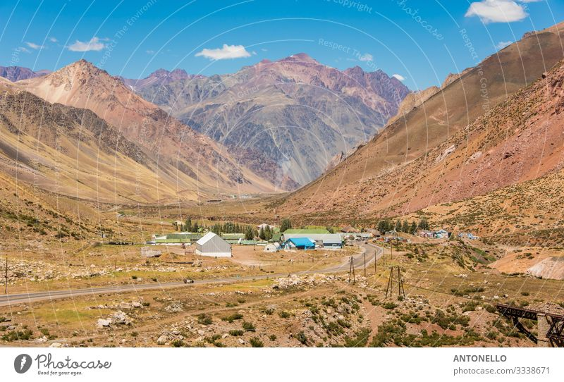 Big valley in the andes with some houses Vacation & Travel Tourism Freedom Expedition Summer Sun Mountain Hiking Climbing Mountaineering Environment Nature