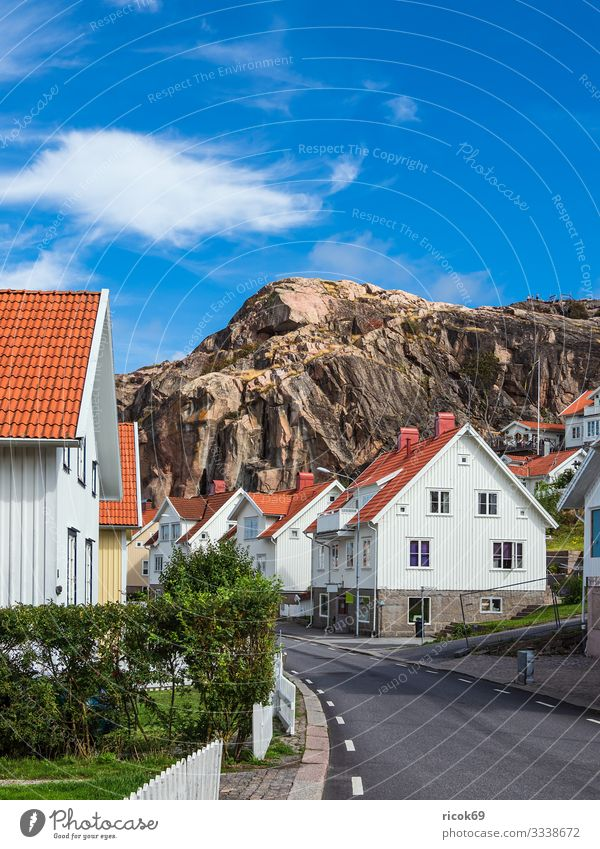 View of the town Fjällbacka in Sweden Relaxation Vacation & Travel Tourism Summer House (Residential Structure) Nature Clouds Rock Town Building Architecture