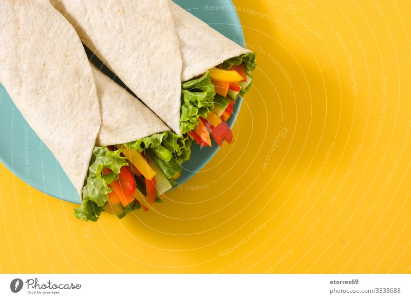 Vegetable tortilla wraps burrito Carrot Cucumber Diet fajita Food Healthy Eating Food photograph Fresh Green Isolated (Position) Lettuce Mexicans Mix Nutrition
