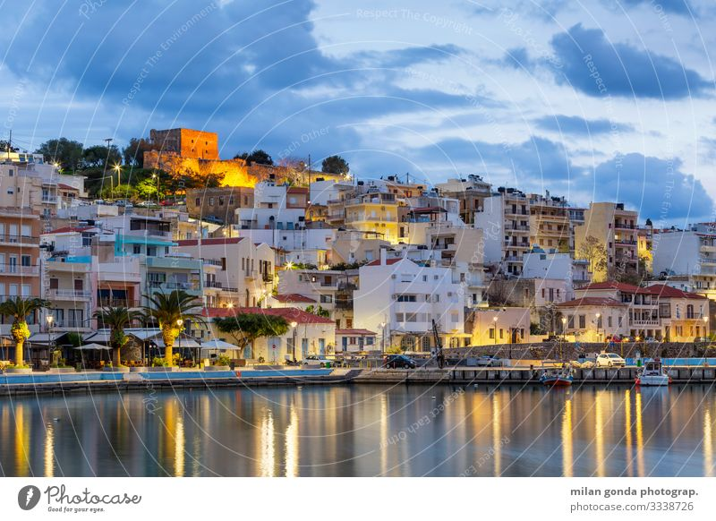 Crete. Ocean Town Old town Castle Harbour Moody Europe Mediterranean Greece Greek Lasithi Sitia the Aegean cityscape blue hour Venetian fortress port Morning