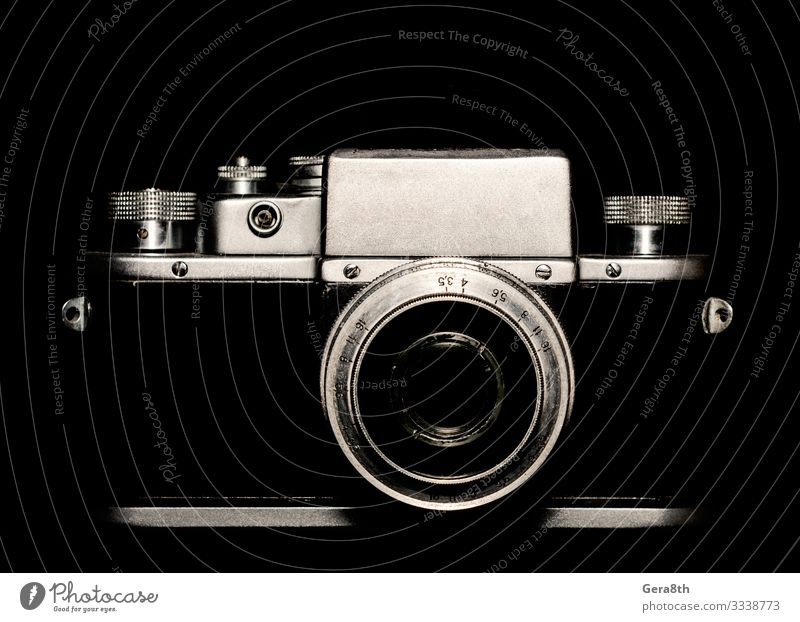 vintage camera on black background closeup Style Wallpaper Camera Technology Lanes & trails Metal Line Old Dark Retro Gray Black White Blank camera contour