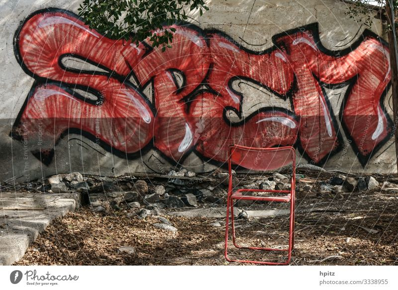 hope Graffiti Facade Sign Characters Exceptional Trashy Red Hope Longing Fiasco Decline Colour photo Subdued colour Long shot